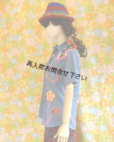 画像3: リメイクデニムシャツ半袖 フラワー