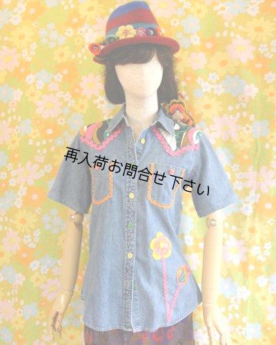 画像2: リメイクデニムシャツ半袖 フラワー