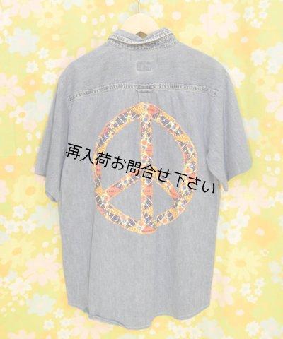 画像5: リメイクデニムシャツ半袖 M ピースマーク