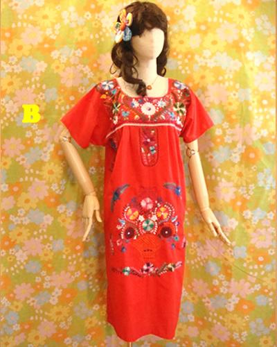 画像1: メキシコ刺繍ワンピース red