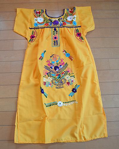 画像2: メキシコ刺繍ワンピース yellow