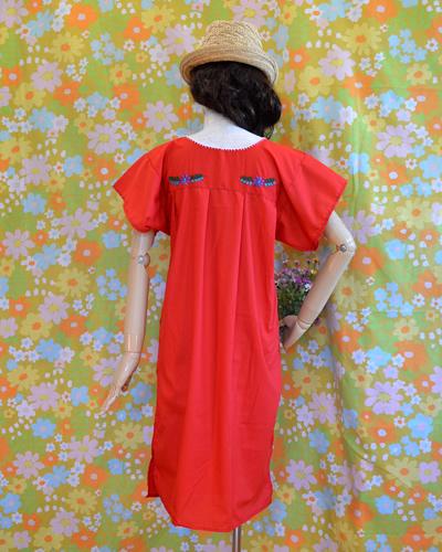画像3: メキシコ刺繍ワンピース red