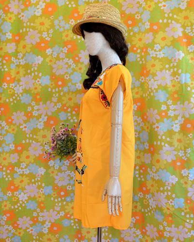 画像4: メキシコ刺繍ワンピース yellow