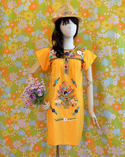 画像1: メキシコ刺繍ワンピース yellow