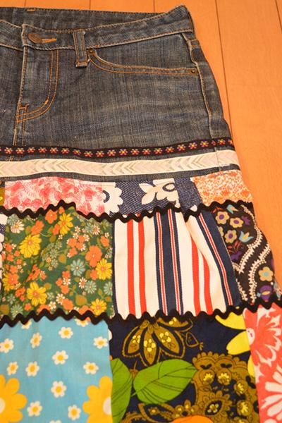 画像2: デニムリメイクスカート パッチワーク