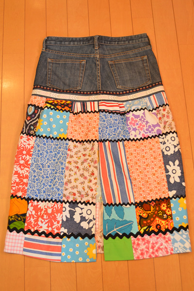 画像3: デニムリメイクスカート パッチワーク