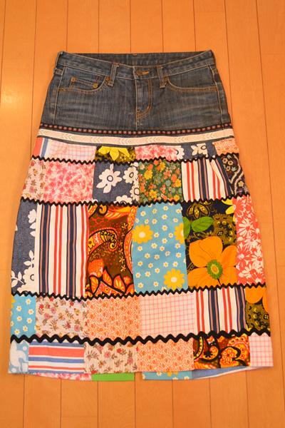 画像1: デニムリメイクスカート パッチワーク